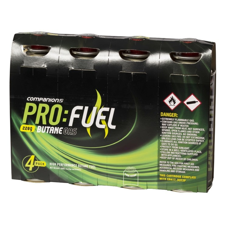 Companion Pro Fuel Butane Gas 220g 4 Pack Grey 220 g