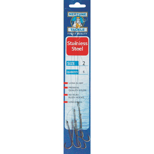 Neptune Tackle Stainless Steel Snelled Long Shank Hooks