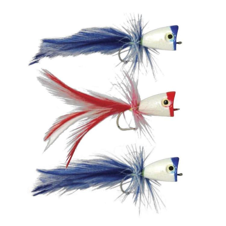 Gillies Surf Popper 1/0 Lure 3 Pack Blue & Red