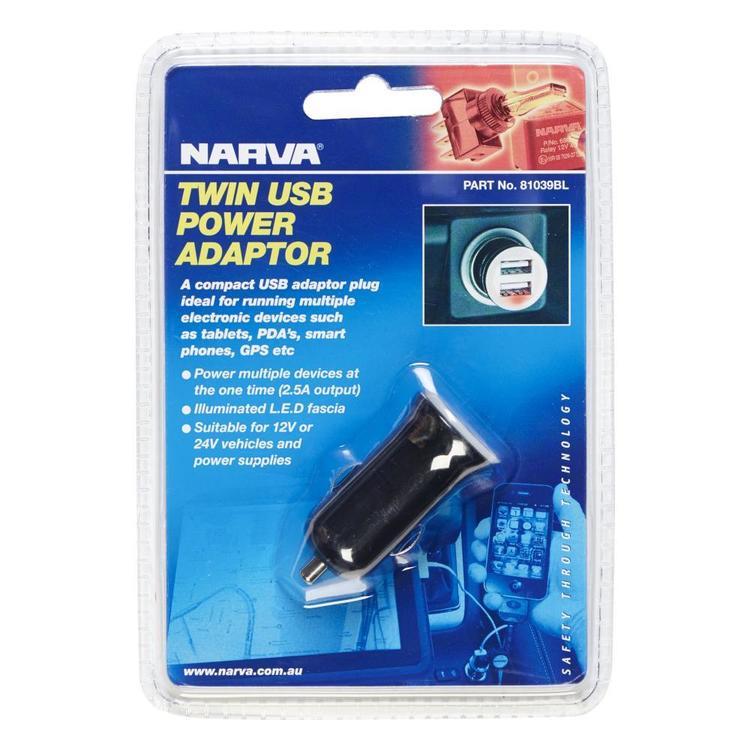 Narva Twin USB 12 24V Adaptor
