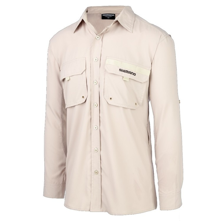 Shimano Adult's Oatmeal Vented Fishing Shirt Oatmeal