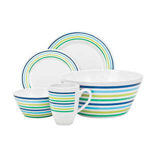 Campfire 24 Piece Melamine Set Sea Breeze