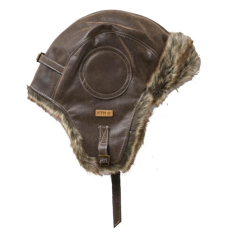 XTM Men's Leather Bomber Hat Chocolate One Size Fits Most