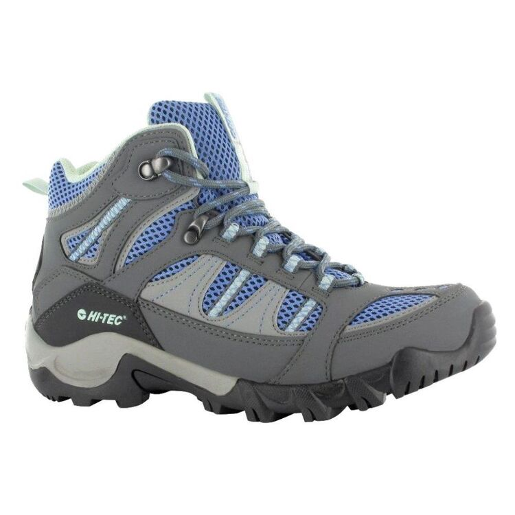 Hi-Tec Women's Bryce II Waterproof Mid Hiking Boots Graphite, Cornflower & Sprout