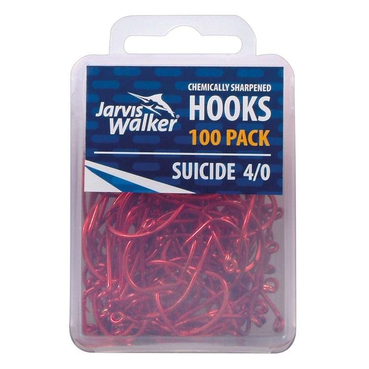 Jarvis Walker Red Suicide Chemically Sharpened Hook 100 Pack