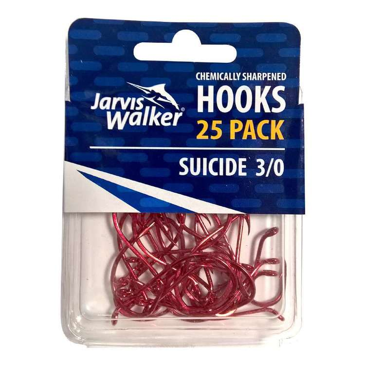 Jarvis Walker Suicide Red Chemically Sharpened Hooks 25 Pack