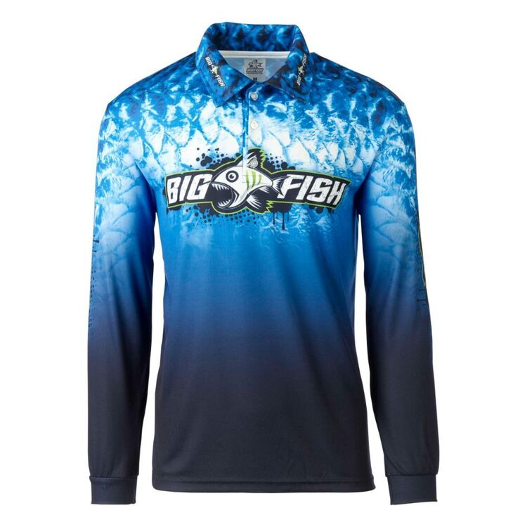 Bigfish Adults' Blue Scales Sublimated Polo Shirt