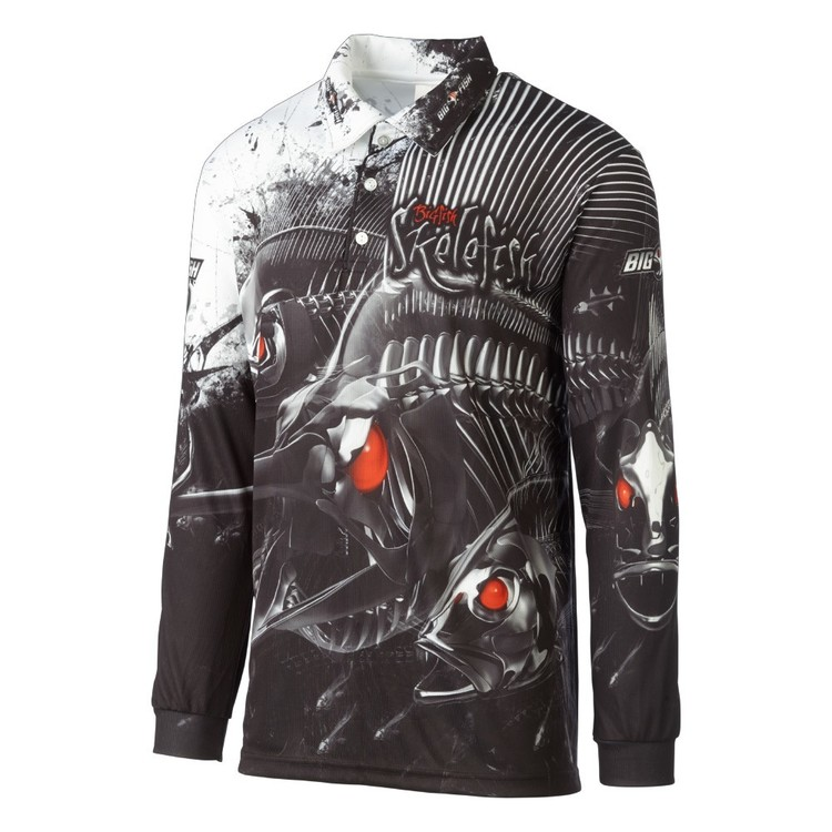 Bigfish Skelefish Sublimated Polo Shirt Black