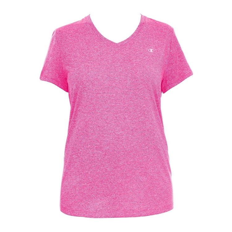 Champion Women's Powertrain V Neck Tee Feeder Stripe & Pinksicle