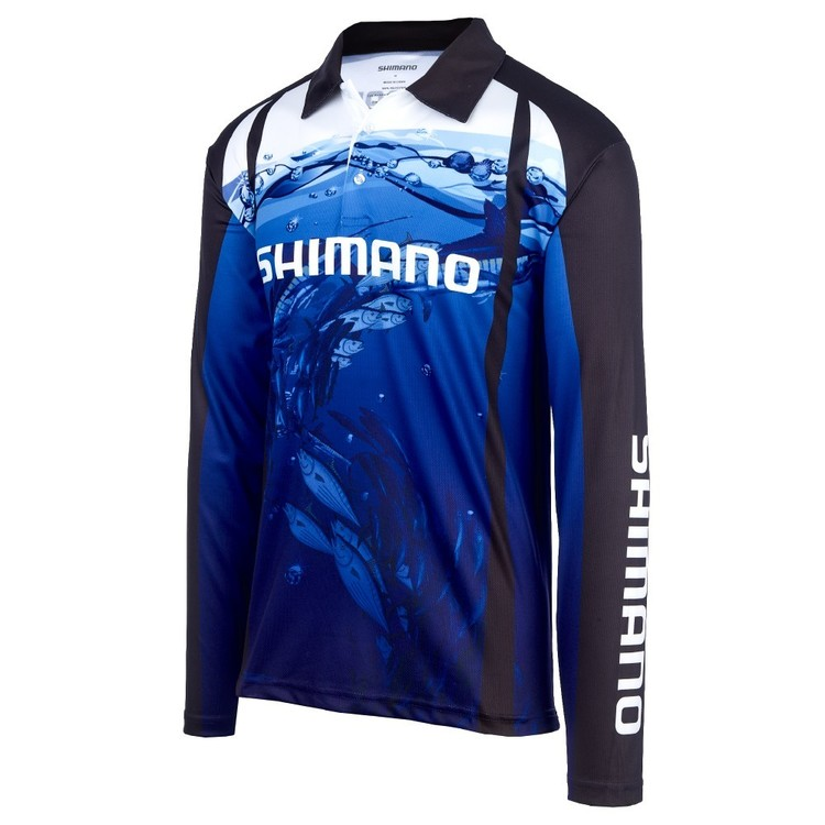 Shimano Underwater Sublimated Polo Shirt Blue