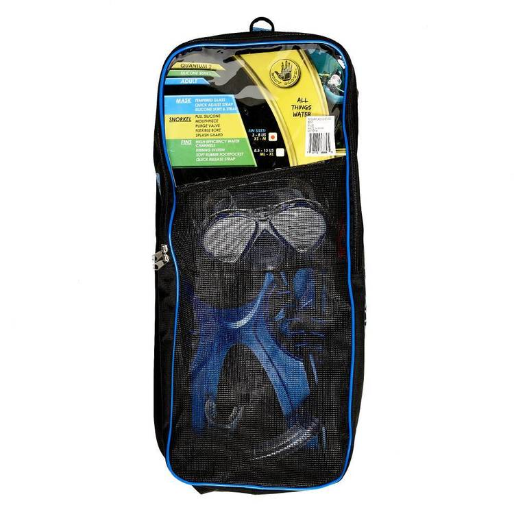 Body Glove Quantum 2.0 4 Piece Adult's Dive Set Blue & Black