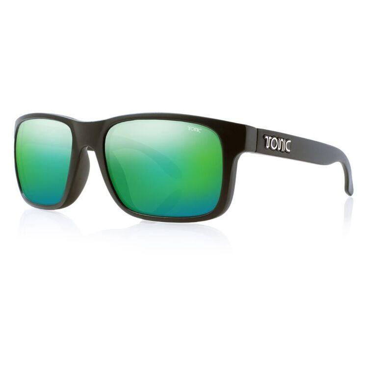 Tonic Mo Sunglasses Matte Black & Green Mirror