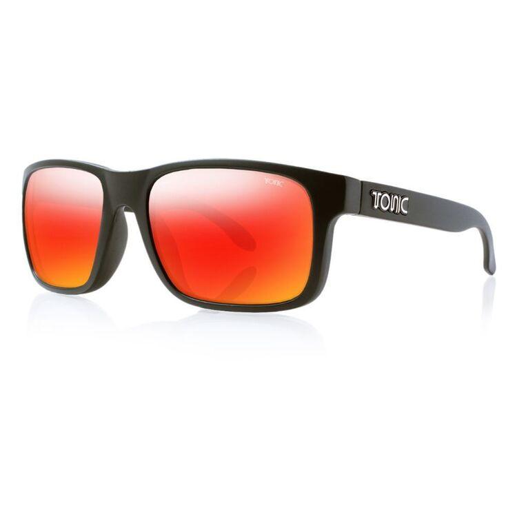 Tonic Mo Sunglasses Matte Black & Red Mirror
