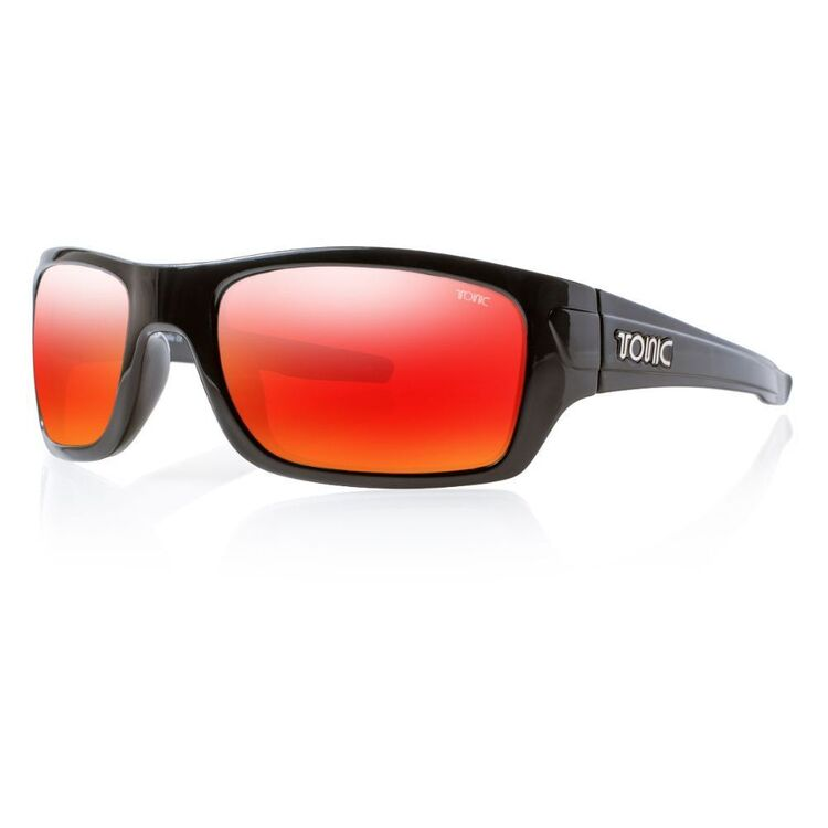 Tonic Trakker Sunglasses Shiny Black & Red Mirror