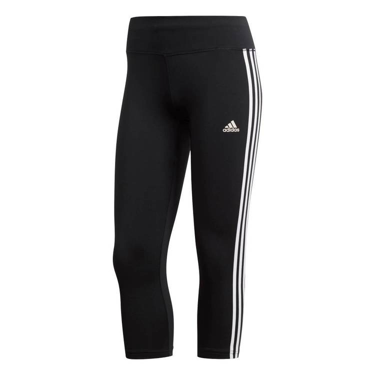 adidas Women's Designed 2 Move 3 Stripe 3/4 Tights Black & White