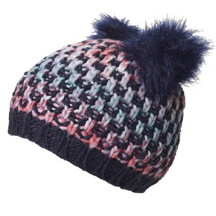 Cape Kid's Rainbow Textured Pom Pom Beanie