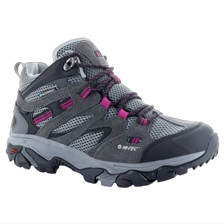 HI-TEC Women's Ravus Vent Lite Mid Waterproof Hiking Boots Charcoal, Grey & Red