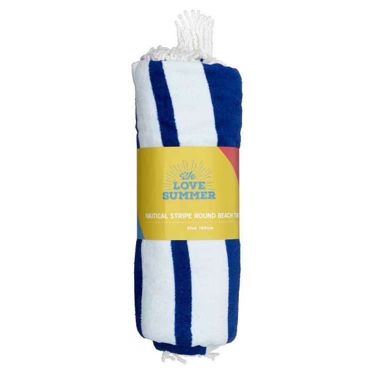 Nautical Stripe Round Beach Towel Blue