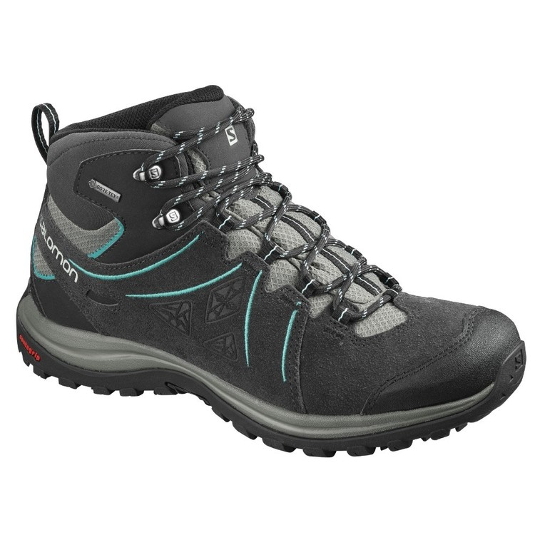 Salomon Women's Ellipse 2 Leather GTX Mid Hiking Shoes Castor Grey & Aruba Blue