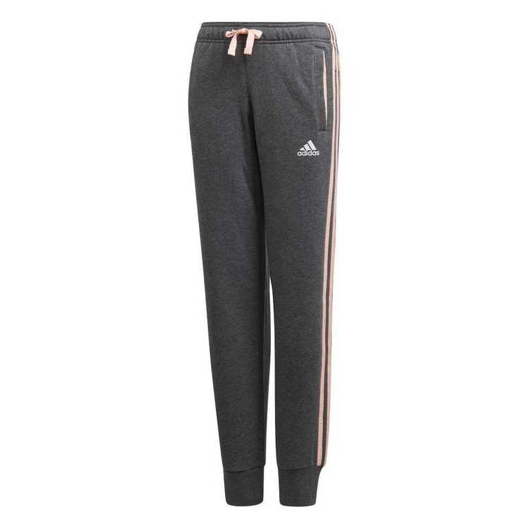 adidas Girl's Essential 3 Stripe Fleece Pant Dark Grey, Coral & White