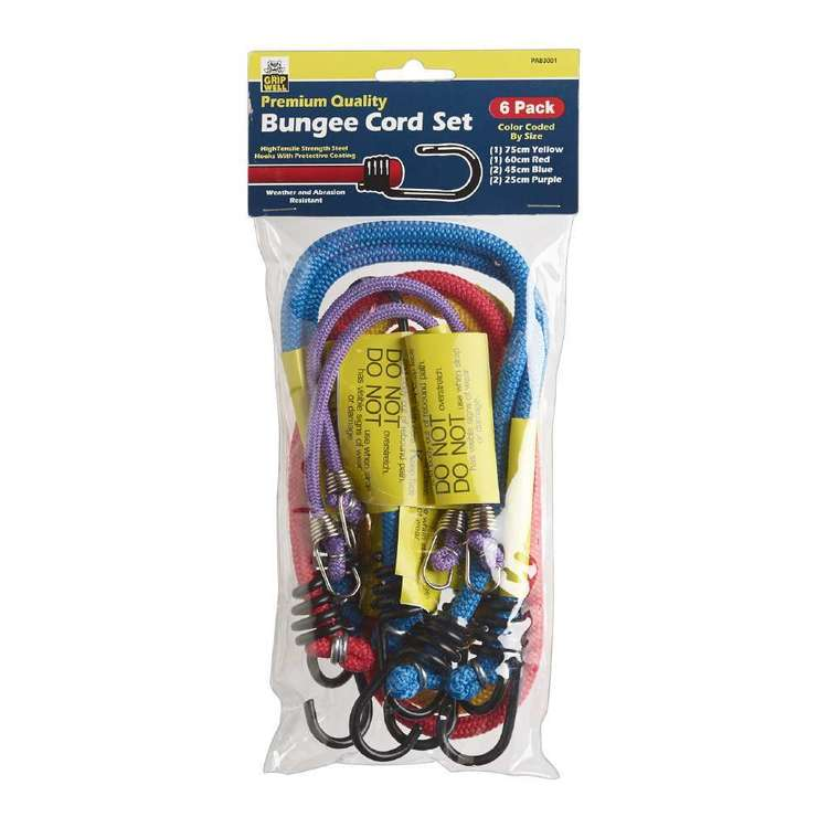 Gripwell Premium Quality Bungee Cord Set 6 Pack