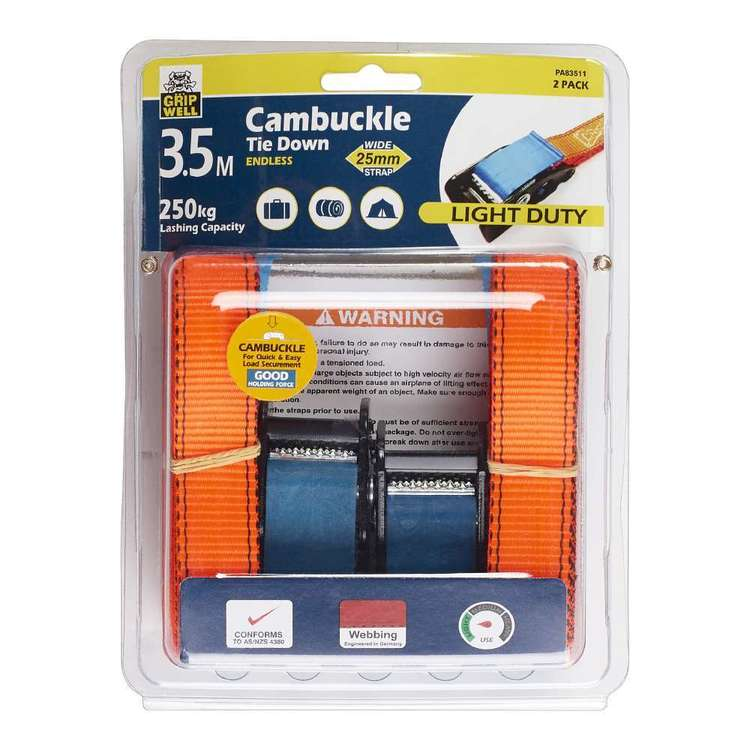 Gripwell Light Duty 3.5 Metre / 250 kg Cambuckle Tie Down Endless 2 Pack