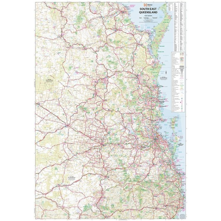 Hema South East Queensland Map Multicoloured