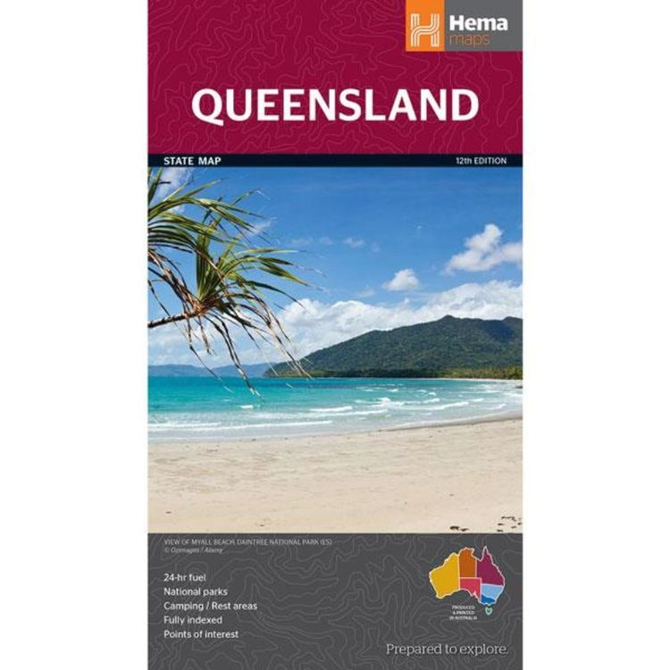 Hema Queensland State Map Multicoloured