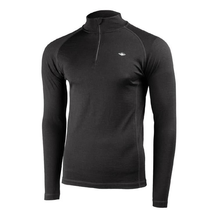 Mountain Designs Mens Merino Long sleeve Quarter Zip Top Black
