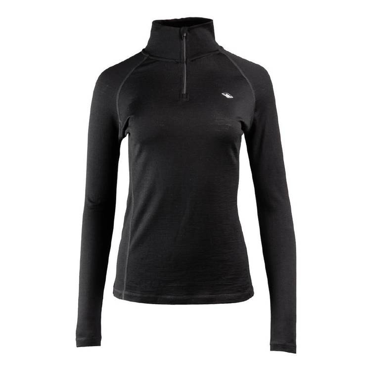 Mountain Designs Women's Merino Long Sleeve Quarter Zip Top Black