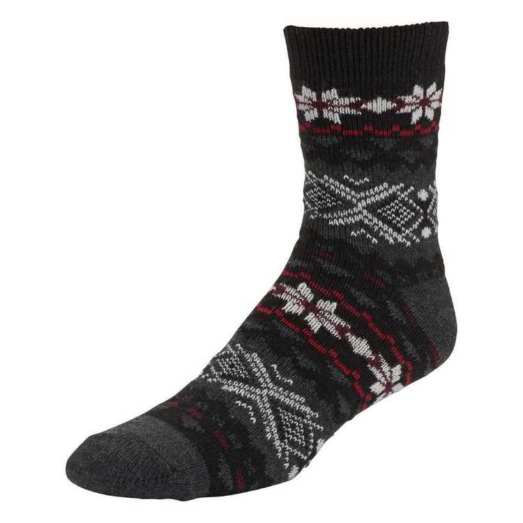 SOF Sole Men's Fireside Socks Black & Grey 8 - 12.5