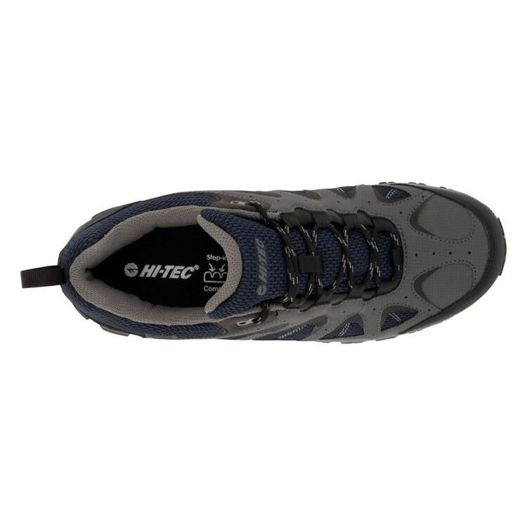 Hi-Tec Men's Quixhill Trail Waterproof Low Hiking Shoes Charcoal, Navy & Grey