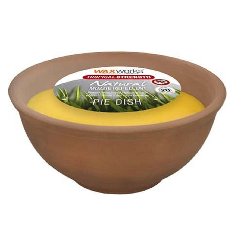 Waxworks Citronella Tropical Candle Pie Dish Terracotta