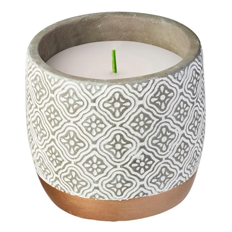 Waxworks Citronella Floral Concrete Pot Candle