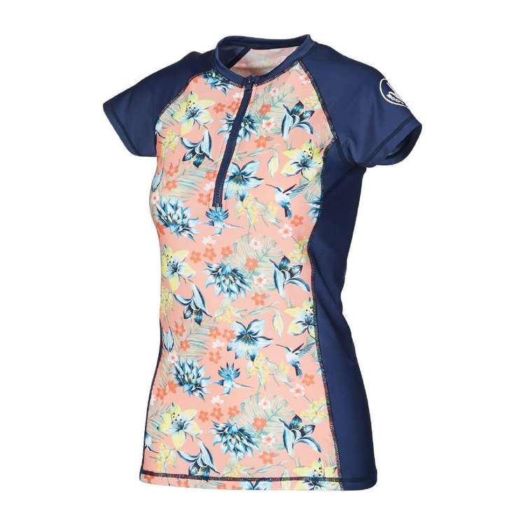 Body Glove Women's Hummingbird Capped Sleeve Rash Vest Print & Navy