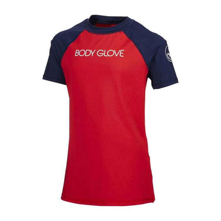 Body Glove Youth Block Coloured Short Sleeve Rash Vest Red