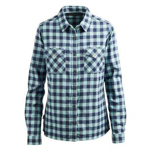 Mountain Designs Women's Trephina Long Sleeve Shirt Mint & Indigo Check