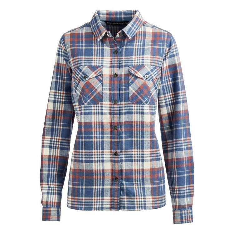 Mountain Designs Women's Trephina Long Sleeve Shirt Blue & White Check