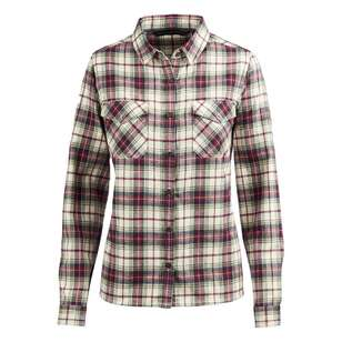 Mountain Designs Women's Trephina Long Sleeve Shirt Plum & White Check