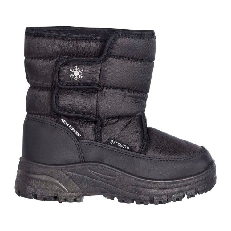 37 Degrees South Kids' Fuji Water Resistant Snow Boots Black