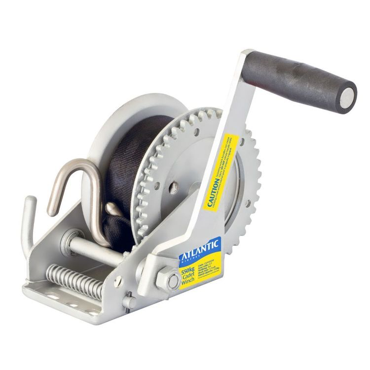 Atlantic Webbing Cadet Winch 550kg 4:1 Ratio 6m S Hook Silver