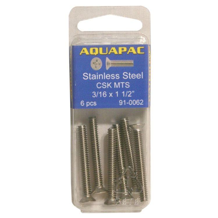 "Aquapac Counter Sunk Metal Thread Screws 1/4 x 1 1/2"" 4 Pack"