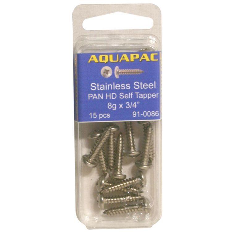 "Aquapac Pan Head Self Tapping Screws 8g x 1/2"" 15 Pack"