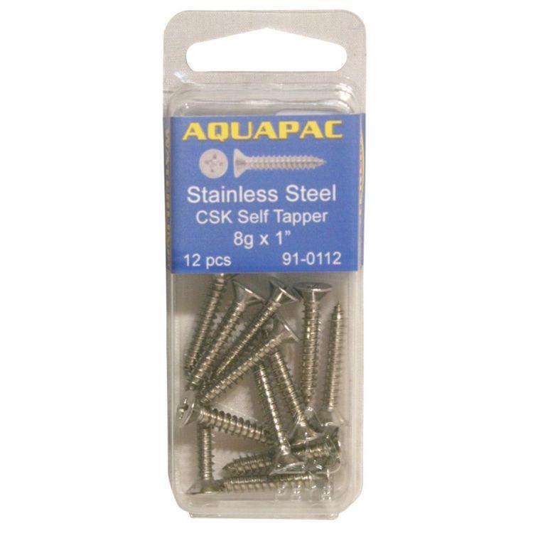 "Aquapac Counter Sunk Self Tapping Screws 12g x 1 1/2"" 4 Pack"