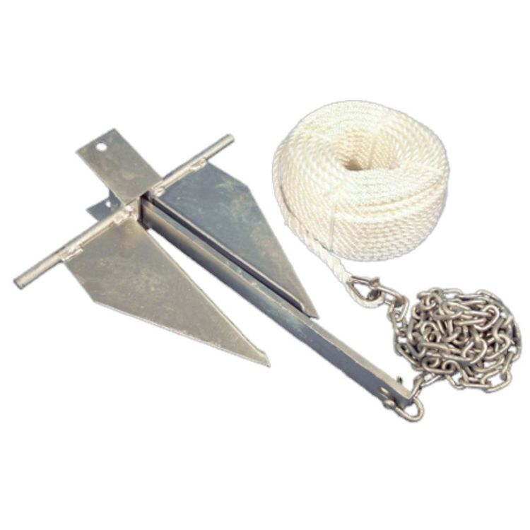 Waterline Sand Anchor Kit 4Lb Anchor, 6mm x 50m Rope, 2m x 6mm Chain