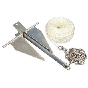 Waterline Sand Anchor Kit 8Lb Anchor, 8mm x 50m Rope, 2m x 6mm Chain