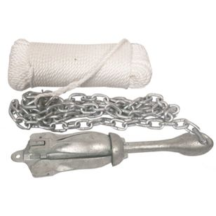 Waterline Folding Grapnel Anchor Kit 1.5kg Anchor, 8mm x 30m Rope, 2m x 6mm Chain