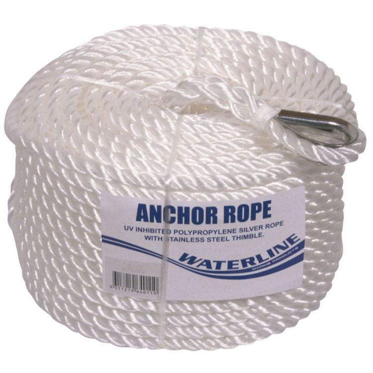 Waterline Silver Anchor Rope 10mm x 50m