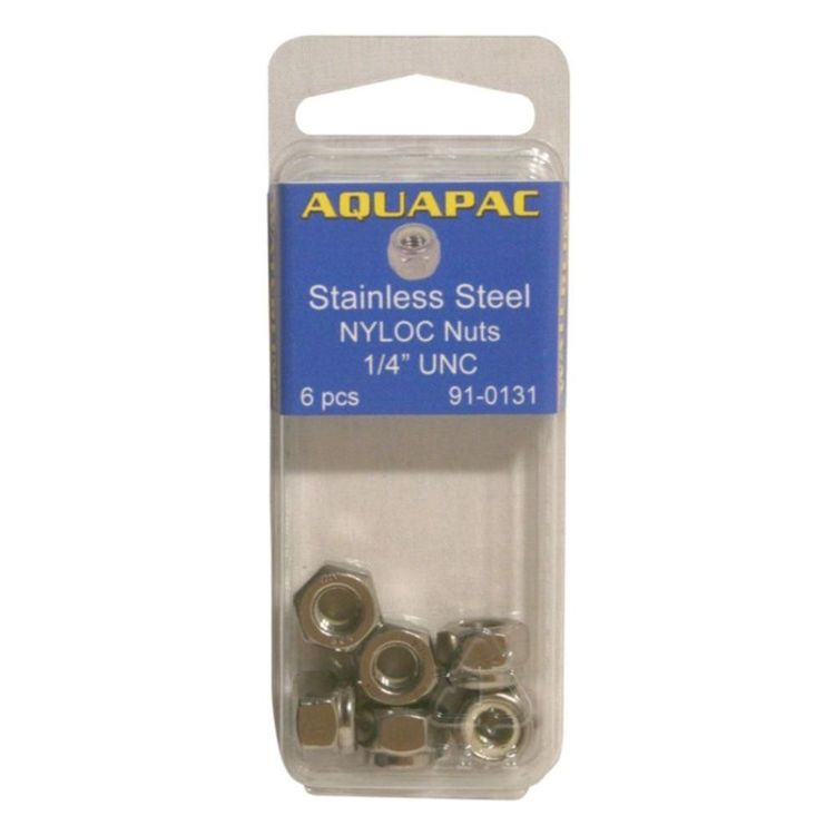 """Aquapac Nyloc Hex Nuts 304 Grade Stainless Steel 1/4"""" UNC 6 Pack"""