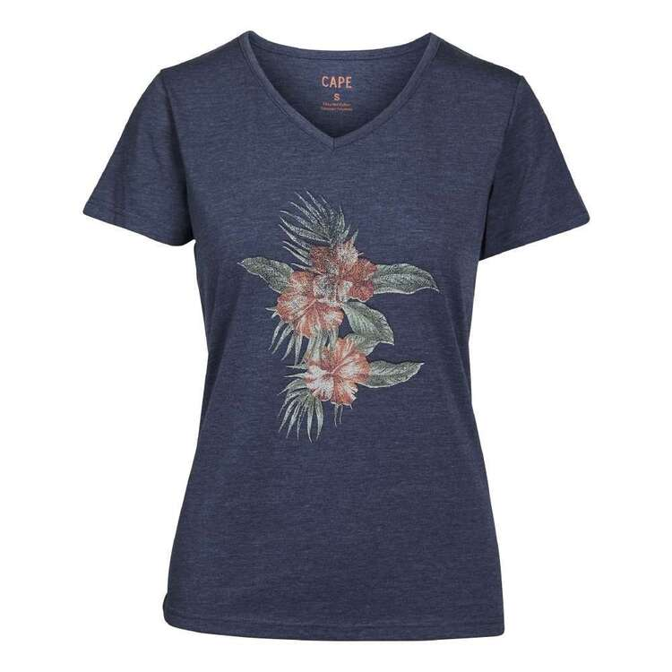 Cape Women's Lacey Hibiscus Short Sleeve Tee Navy Marle X Small